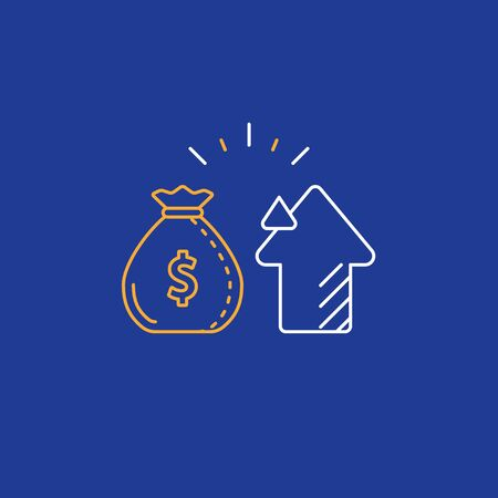 Financial investment and management concept, finance planning, business start up money, pension plan, retire savings, superannuation, vector line icon Illusztráció