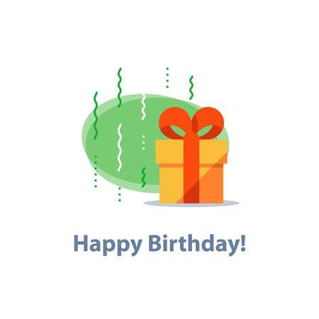 Surprising gift, yellow box, red ribbon, present giveaway, receiving special prize, happy birthday congratulation concept, event idea, fun celebration, confetti falling, vector icon, flat illustration