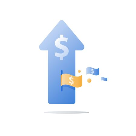 Financial invest fund, revenue increase, income growth, budget plan, return on investment, long term strategy, wealth management, more money, high interest, pension savings, superannuation concept Ilustração