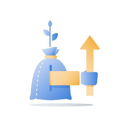 Money bag and hand, fast cash loan, investment strategy, fund raising, quick financial solution, wealth management, value increase, interest rate, vector icon, flat illustration Ilustração
