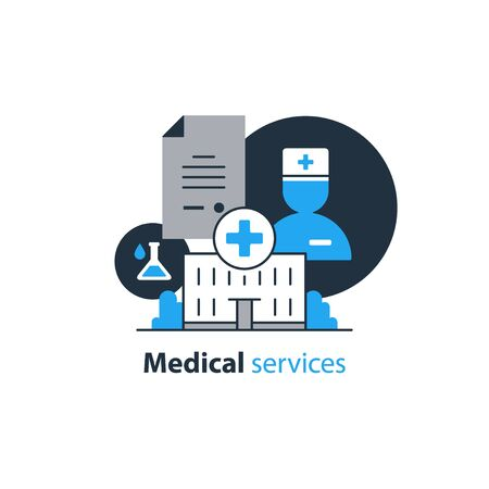 Health care and medicine services icon. Hospital building and doctor. Flat design vector illustration