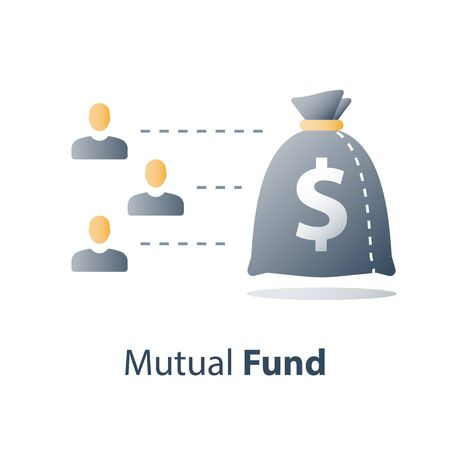Mutual fund, investment capital, crowd funding, budget plan, wealth management, vector icon Illustration