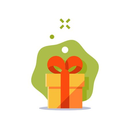 Surprising gift, yellow box, red ribbon, present giveaway, receiving special prize, happy birthday congratulation concept, event idea, fun celebration, vector icon, flat illustration
