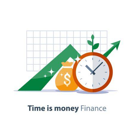 Gráfico de crecimiento de ingresos, bolsa de dinero y reloj, gráfico de retorno de la inversión, planificación presupuestaria, concepto de tiempo es dinero, flecha hacia arriba, ahorro de fondos de pensiones, ilustración de jubilación, icono plano vectorial