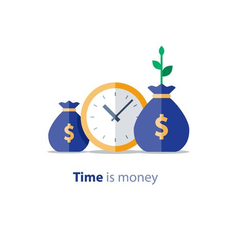 Clock icon, financial period, annual payment, income growth, finance productivity, return on investment, budget planning, expenses concept, accounting report, statistic and analytics, vector illustration Imagens - 128754981