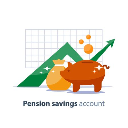 Future income growth graph, money bag and piggy bank, return on investment chart, budget planning, time is money concept, arrow up, pension fund savings, superannuation illustration, vector flat icon
