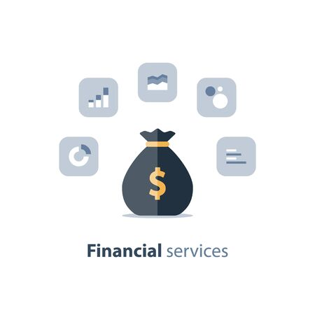 Financial services, business planning, market research, accountancy analytics, fund management, income infographics, return on investment, budgeting, revenue increase, accounting report, vector icon Imagens - 128754996