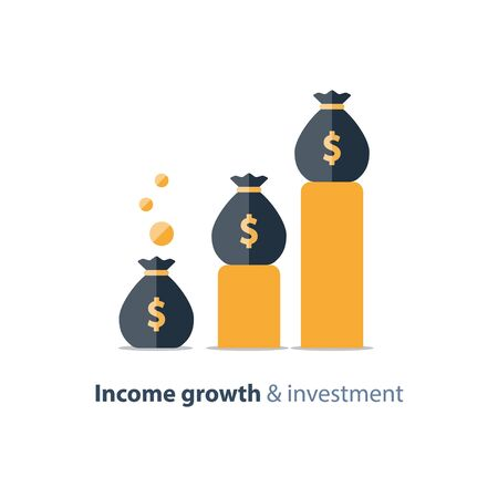 Income growth graph, return on investment chart, budget fund planning, revenue increase, accounting report, business and finance, vector flat icon