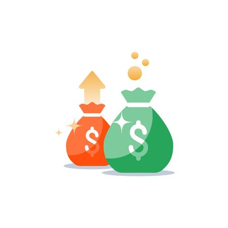 Money bags icon, sack with money, win jackpot, super prize, fundraising concept, financial capital, dollar sign, budget plan, return on investment, vector flat illustration