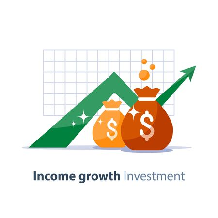 Future income growth graph, money bags, return on investment chart, budget planning, time is money, arrow up, pension fund savings, superannuation illustration, vector flat icon Illustration