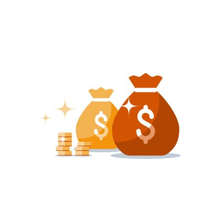 Money bags lottery, sack with money, win jackpot, super prize, coin stack, gold treasure, fundraising concept, financial capital, dollar sign, budget plan, return on investment, vector flat icon