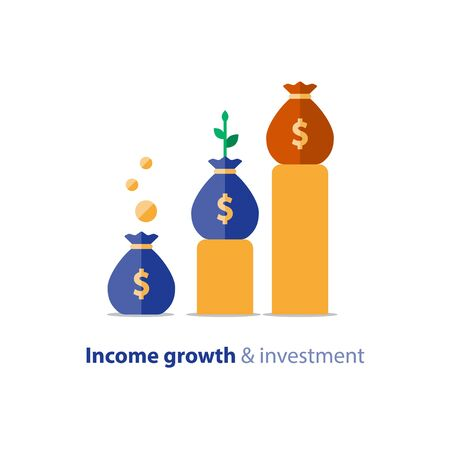 Income growth graph, return on investment chart, budget fund planning, revenue increase, accounting report, business and finance, vector flat icon Imagens - 128755189