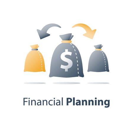 Finance diversification, fund management, return on investment, split account, asset allocation, financial distribution, vector icon Ilustração