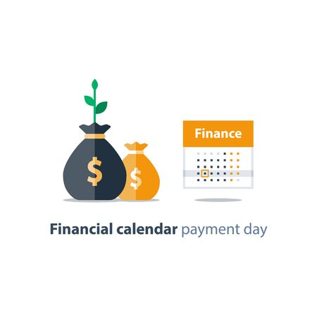 Financial calendar illustration, budget plan, payment bay, finance planner, monthly installment, time period, annual money income, vector icon Imagens - 128755201