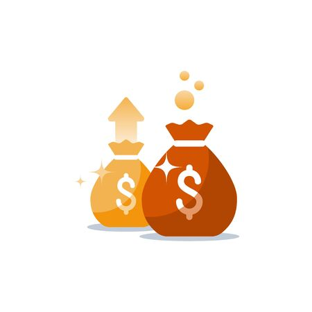 Money bags icon, sack with money, win jackpot, super prize, fundraising concept, financial capital, dollar sign, budget plan, return on investment, vector flat illustration Imagens - 128755203