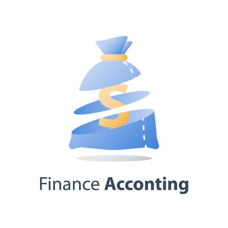 Financial concept, investment fund, wealth management, savings account, vector icon, flat illustration