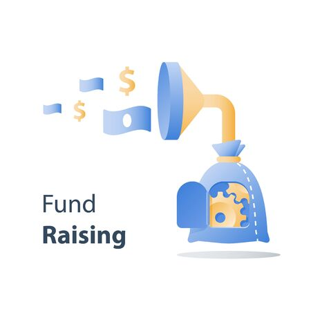 Fund raising campaign, attracting money, easy loan, fast capital growth, investment return, wealth management, revenue increase, funnel and money bag, payment installment, finance concept, vector icon