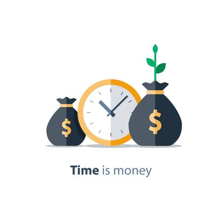 Clock icon, financial period, annual payment, income growth, finance productivity, return on investment, budget planning, expenses concept, accounting report, statistic and analytics, vector illustration