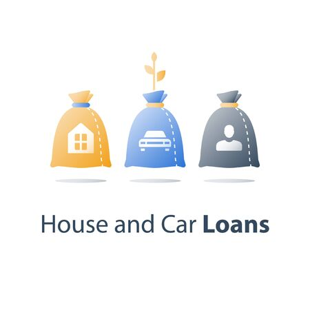 Financial concept, cash loan, mortgage payment, budget plan, cost and expenses, banking services, vector icon Ilustração
