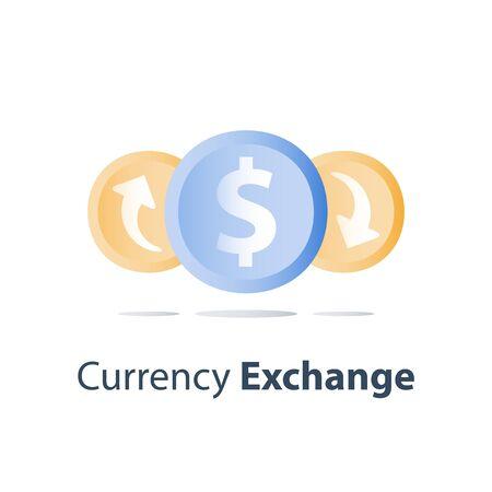 Currency exchange, cash back, investment return, loan refinance, savings deposit, banking services, credit payment, finance concept, vector icon Ilustração