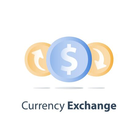 Currency exchange, cash back, investment return, loan refinance, savings deposit, banking services, credit payment, finance concept, vector icon Illustration