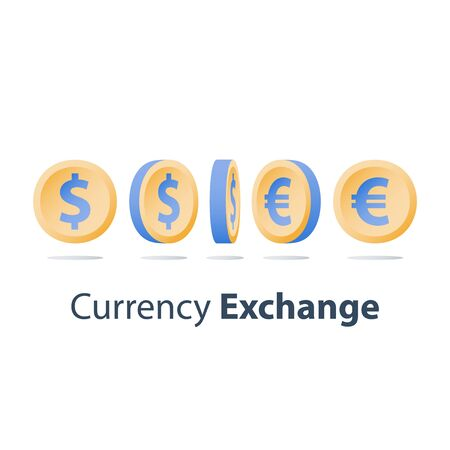 Currency exchange, dollar and euro coins, financial concept, side view, turning sequence, vector icon