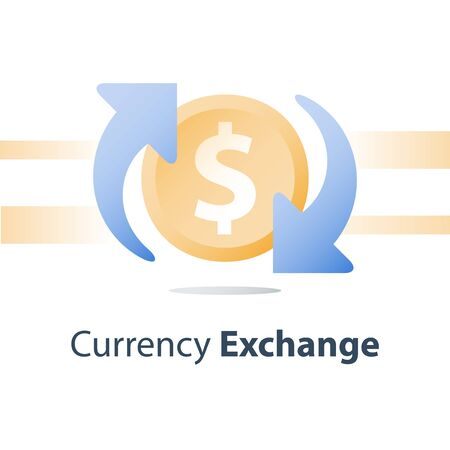 Currency exchange, cash back, investment return, loan refinance, savings deposit, banking services, credit payment, finance concept, vector icon Imagens - 128755330