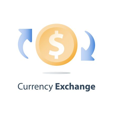 Currency exchange, cash back, investment return, loan refinance, savings deposit, banking services, credit payment, finance concept, vector icon Stock Vector - 128755328