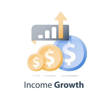 Investment portfolio growth, revenue increase, financial performance report, income improvement strategy, ascending chart, interest rate, earn more money, multiply capital, asset allocation