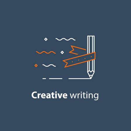 Creative writing, storytelling concept, pencil and ribbon, copywriting, vector line icon