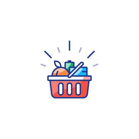Grocery shop basket full of food, shopping special offer promotion, best deal, good quality products, vector line icon design