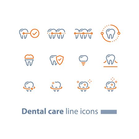 Dental care, prevention check up, stomatology services, teeth braces,  cleaning and whitening, implant and crown, protection concept, vector line icon set, linear design Illusztráció