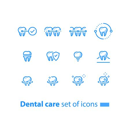 Dental care, prevention check up, stomatology services, teeth braces,  cleaning and whitening, implant and crown, protection concept, vector line icon set, linear design Stock Illustratie