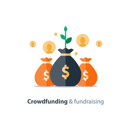 Crowdfunding project, fundraising campaign, money donation, charity fund, money bags, income growth, vector flat icon