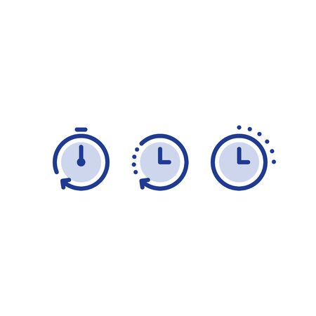 Fast time logo, stop watch symbol,  time period concept, working hours,  quick timely delivery, express and urgent services, deadline and delay, vector line icon set  イラスト・ベクター素材