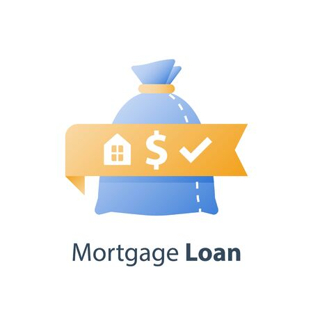 Mortgage payment, cash loan, real estate investment, financial concept, vector icon Ilustração