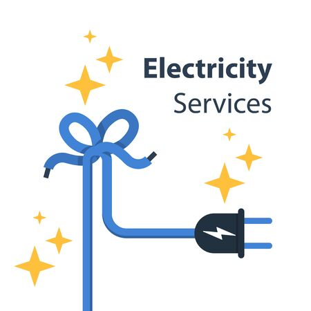 Electricity wire with knot and plug, repair and maintenance services, vector illustration Vectores