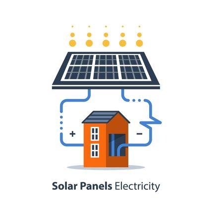 Solar panel and house, autonomous electricity, source of energy, flat design illustration Illustration