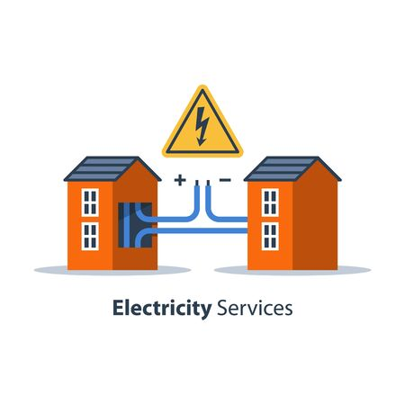 Electricity repair and maintenance services, house with high voltage sign and wires connection, electric safety, flat design illustration
