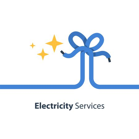 Electricity wire with knot and sparks, repair and maintenance services, vector illustration Illustration