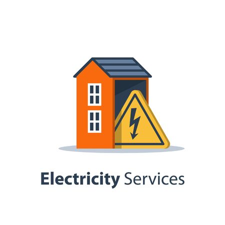 Electricity repair and maintenance services, house with high voltage triangle sign, electric safety, flat design, vector illustration