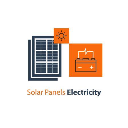 Solar panel and power battery, autonomous electricity, source of energy, flat design illustration
