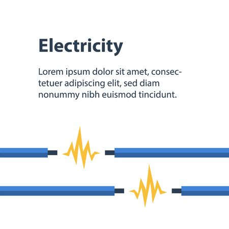 Electricity wires with bare end and current, repair and maintenance services, vector illustration