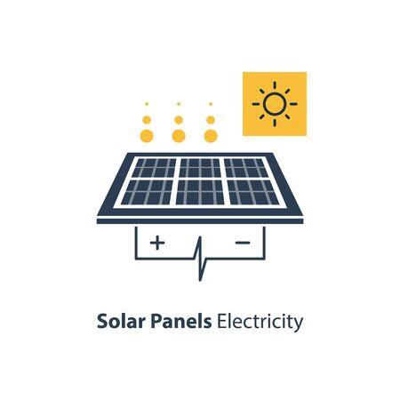Solar panel and sun icon, autonomous electricity, source of energy, flat design illustration
