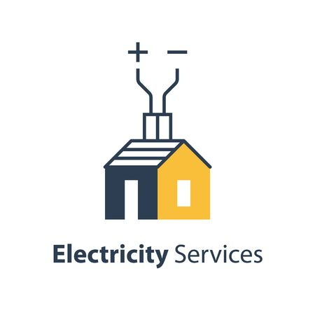 Electricity repair and maintenance services, house with wire, electric safety, vector illustration