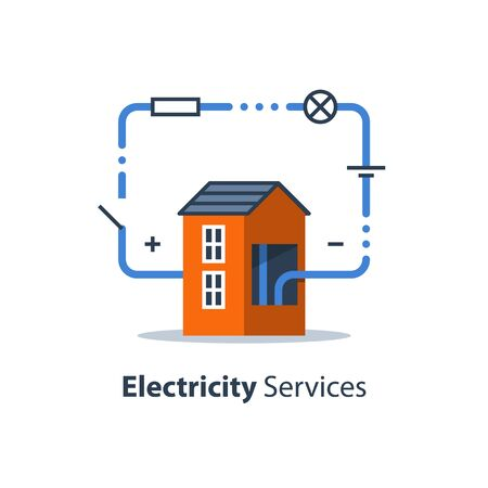 Electricity circuit, repair and maintenance services, house with electrical loop, vector illustration Illustration