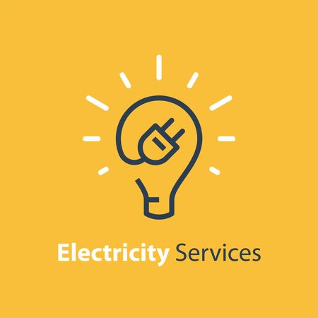 Electricity repair and maintenance services, light bulb and plug, electric safety, linear design illustration Illustration
