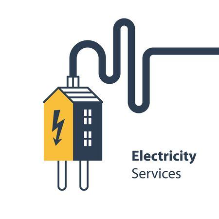Electricity repair and maintenance services, house and plug with wire, electric safety, flat design illustration