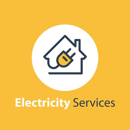 Electricity repair and maintenance services, house and plug, electric safety, linear design illustration Illustration
