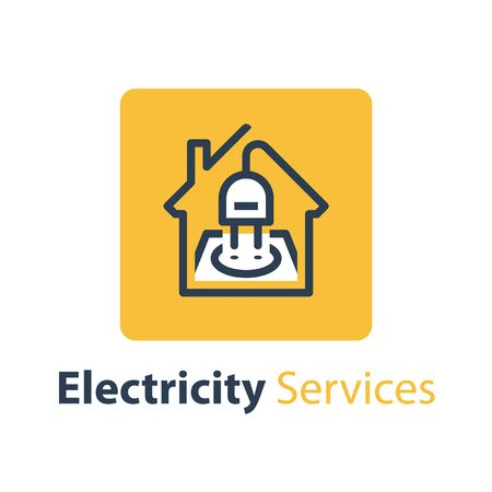 Electricity repair and maintenance services, house with socket and plug, electric safety, linear design illustration